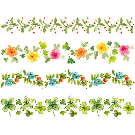4 Floral Borders Hand Painted Clipart Watercolor Borders