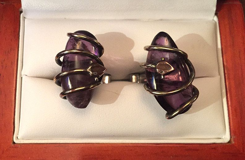 Stunning Vintage Alpaca and Copper Vine-Wrapped Amethyst Cufflinks by CremedelaCuff on Etsy