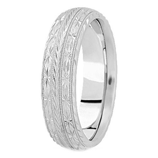 Platinum 7 Mm Men S Diamond Cut Engraved Wedding Band