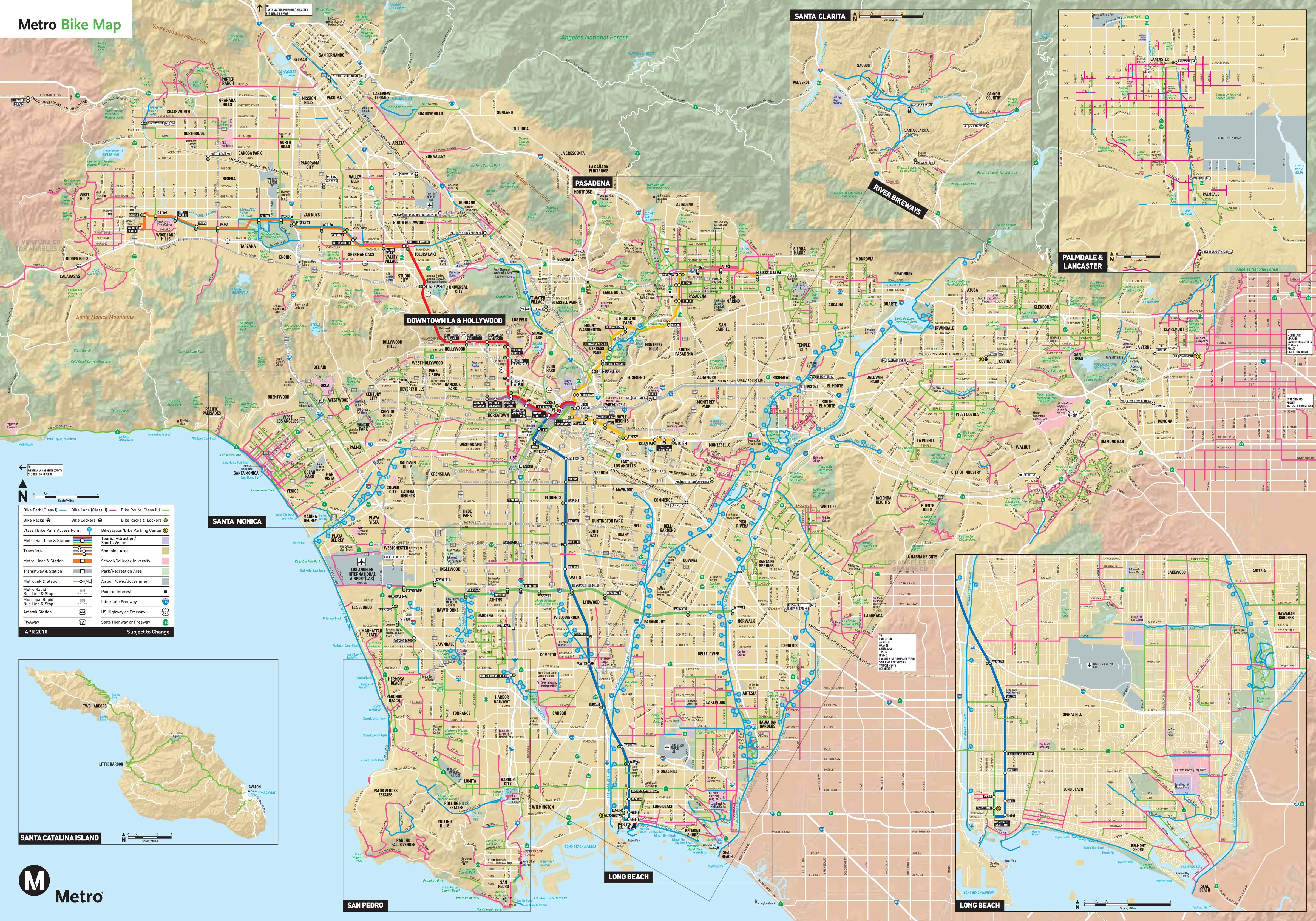 Los Angeles Bike Map Los Angeles Map Map Detailed Map