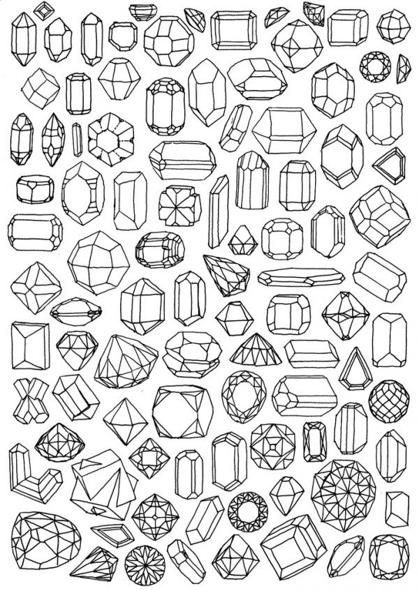 Paper Gems Coloring Pages Drawings Drawing Reference