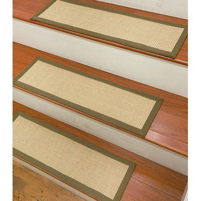 Best Gracie Oaks Degory Sisal Carpet Ivory Green Stair Tread 640 x 480