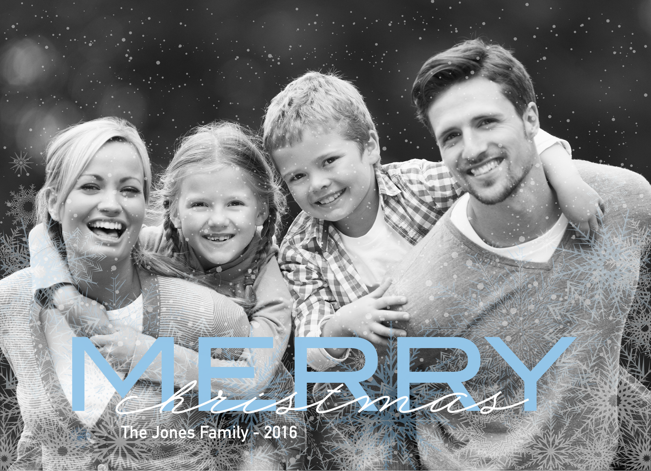 Send out your holiday cards this season with the blue and white snowflake photo card! Personalize it with your own photo and your family name! | CatPrint Design # 630