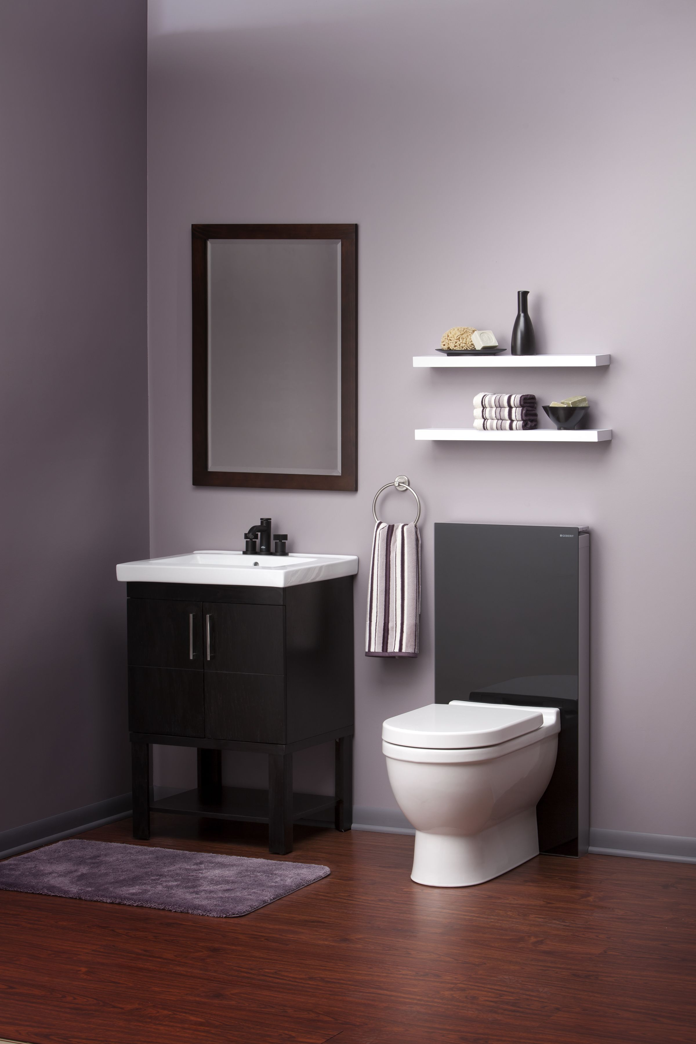 Masculine Black Vanity and Dual Flush Geberit Monolith Toilet Tank