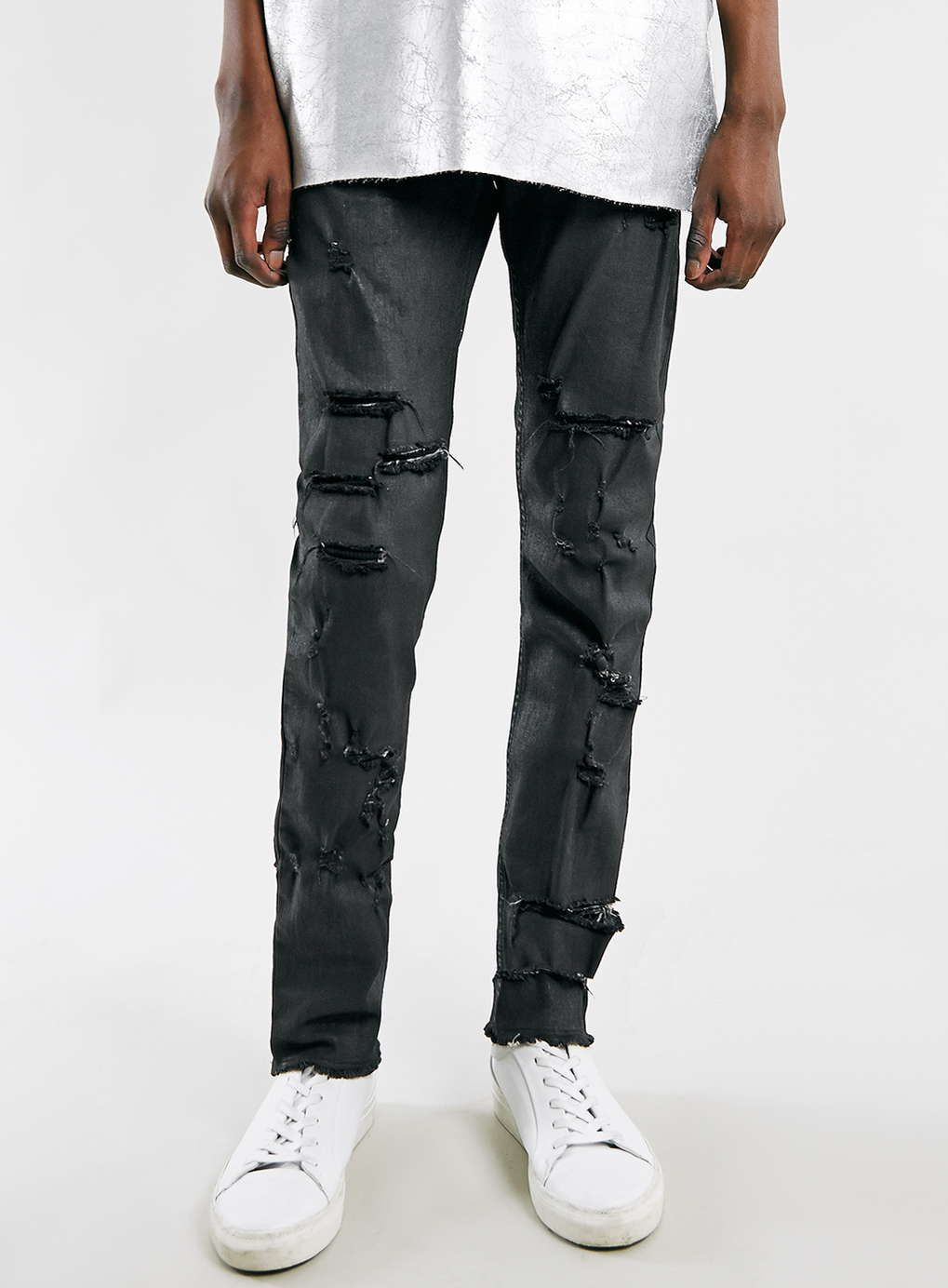 AAA Black Coated Rip Jeans - Topman AAA - Clothing. Skinny Fit ...