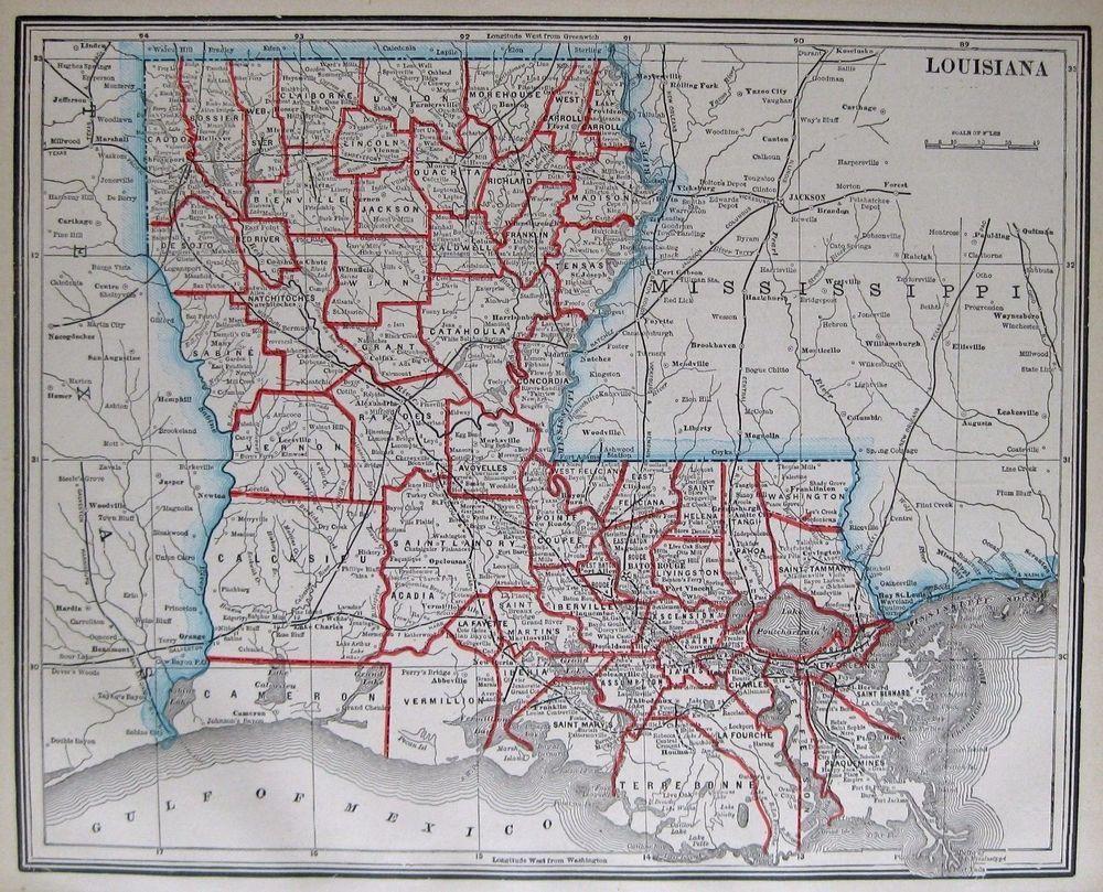 Washington Dc Map Of Us%0A      Antique LOUISIANA Map Vintage State Map of LOUISIANA