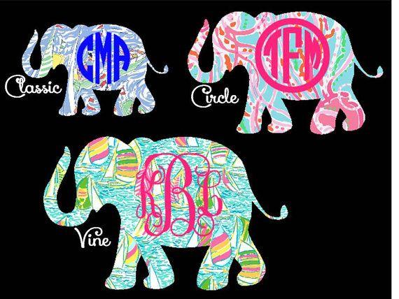 Large Lilly Pulitzer Elephant Decal Optional - Elephant monogram car decal