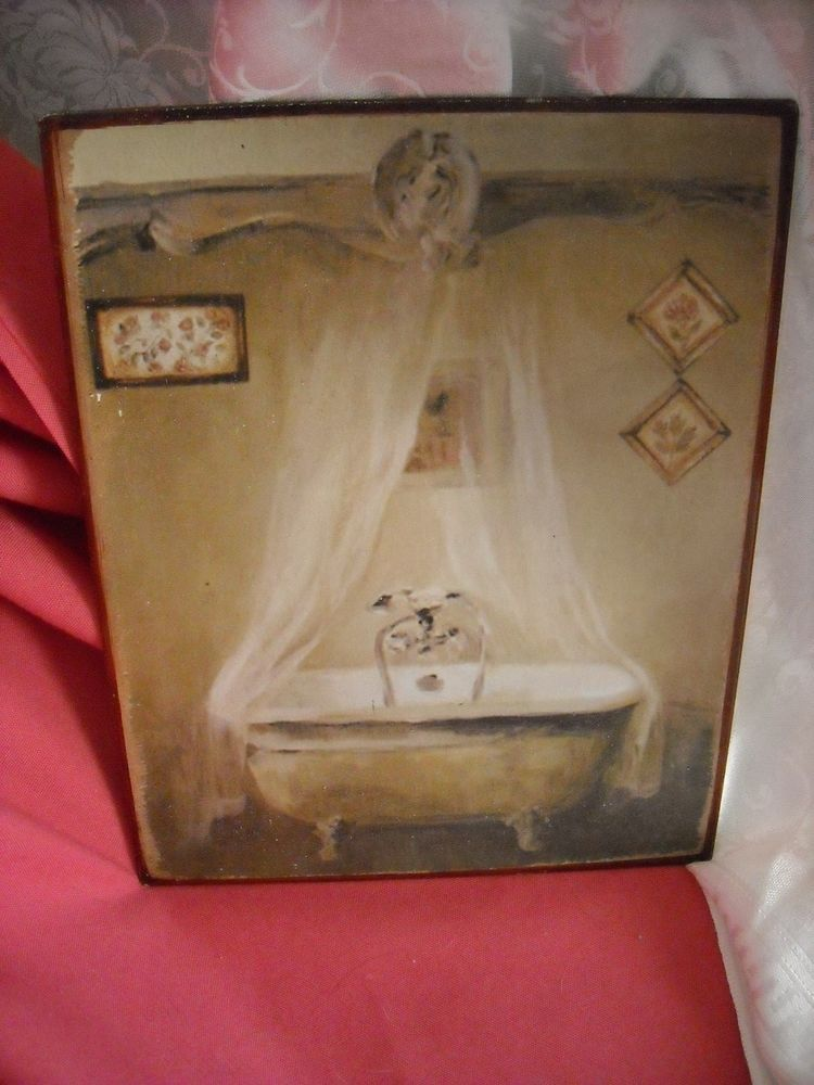"10"" bathroom metal picture claw foot tub vintage look worn for old look wall #Vintage"