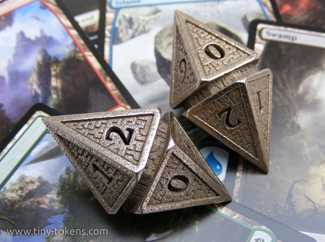 A shot of my design for Hedron d10 spindown life counter dice for Magic: the Gathering. This time in their natural environment. These are 3d printed in stainless steel, but they are also available in plastic. All my dice are available at...