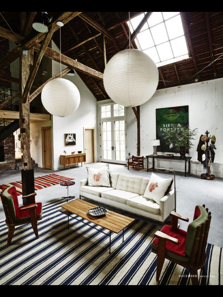 The living room in artist David Salle's East Hampton house ...