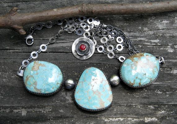 Number 8 Mine Natural turquoise necklace … sterling blue turquoise yoke necklace statement necklace