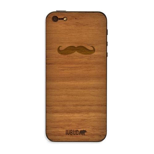 Nueva funda de madera IUBUD para tu móvil iPhone 4/4s y 5. Diseño Bigote tallado a mano con madera de alta calidad por los artesanos de IUBUD.com