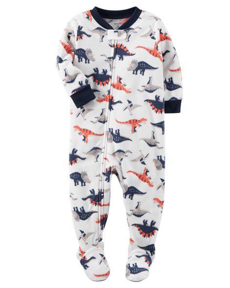 0825b22e93bd 1-Piece Dinosaur Fleece PJs