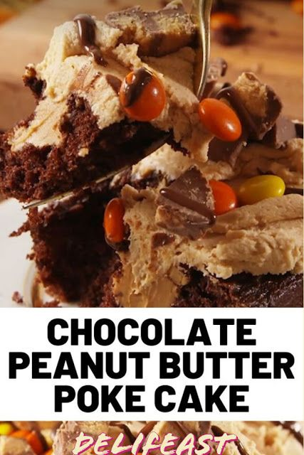 Procedure: Yields: 8 – 10  Prep Time: 0 hours 15 mins  Total Time: 0 hours 50 mins  Ingredients For the Cake 1 box devil's food cake, plus ingredients called for on the box 2 c. peanut butter, melted 1 c. chopped Reese's Peanut Butter Cups 1 c. Reese's Pieces