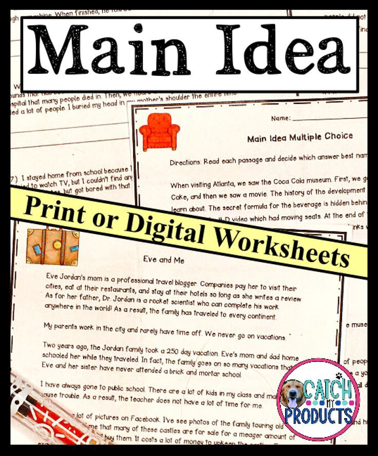 Main Idea Worksheets in 2020 | Teaching writing elementary ...