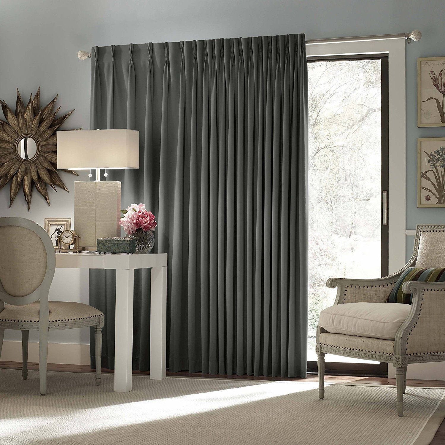 84 Inch Black Solid Color Blackout Sliding Door Curtain Charcoal