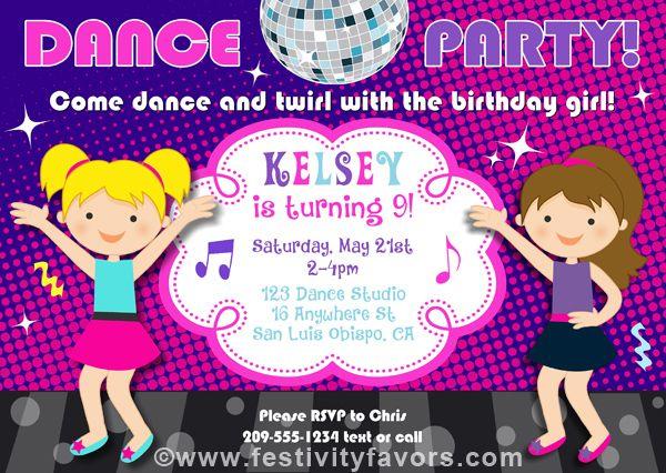 Dance Party Birthday Invitations Music Kids Birthday Pinterest