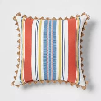 Canton Stripe Outdoor Throw Pillow Orange Threshold Orange Throw Pillows Throw Pillows Outdoor Throw Pillows Orange and blue outdoor pillows