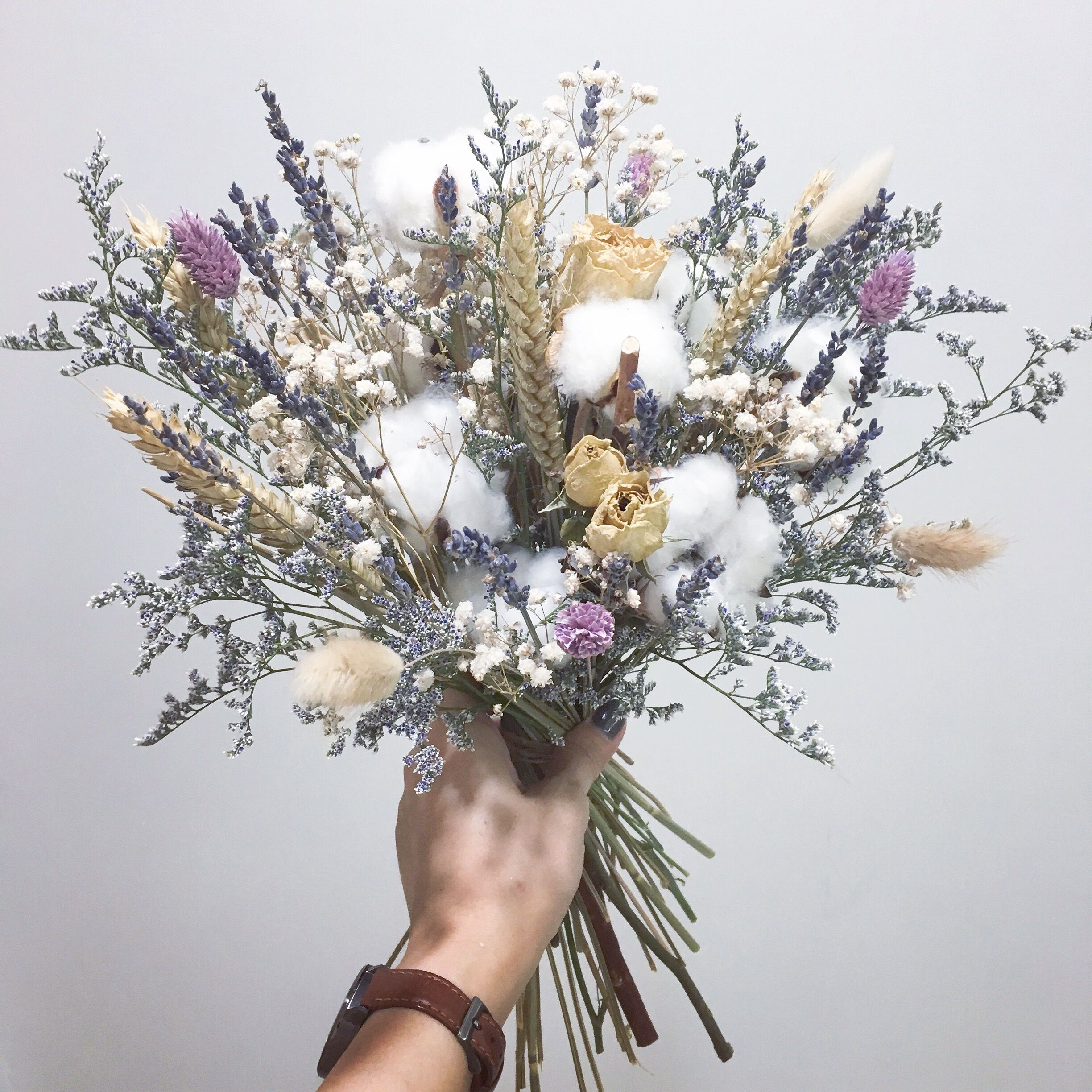 Dried Flowers Bridal Bouquet With Cotton And Lavender Dried Flower Bouquet Wedding Dried Flower Bouquet Dried Flowers