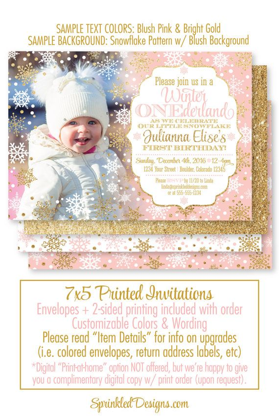 Winter ONEderland Invitation Girl Photo Card - Blush Pink Gold - invitation for 1st birthday party girl