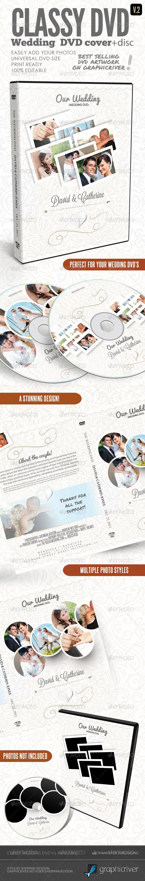 Classy Wedding Dvd Covers V  Print Templates Template And Cd