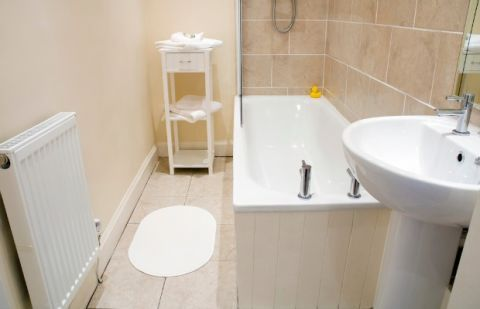 the best colors to paint a beige-tiled bathroom | bathroom
