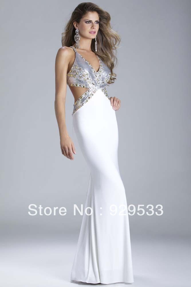 New Arrival White Deep V-neck Backless Gold Sequin Embellished Sexy Mermaid  Pageant Dress Spandex Prom Dress Ball Gown 0c571be7e4c0