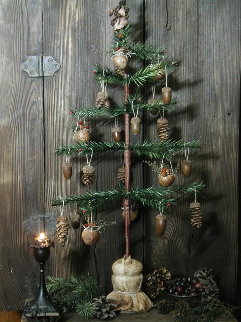 Antique Inspired Feather Tree with Acorns Pinecones Rustic Accents for a Primitive Christmas