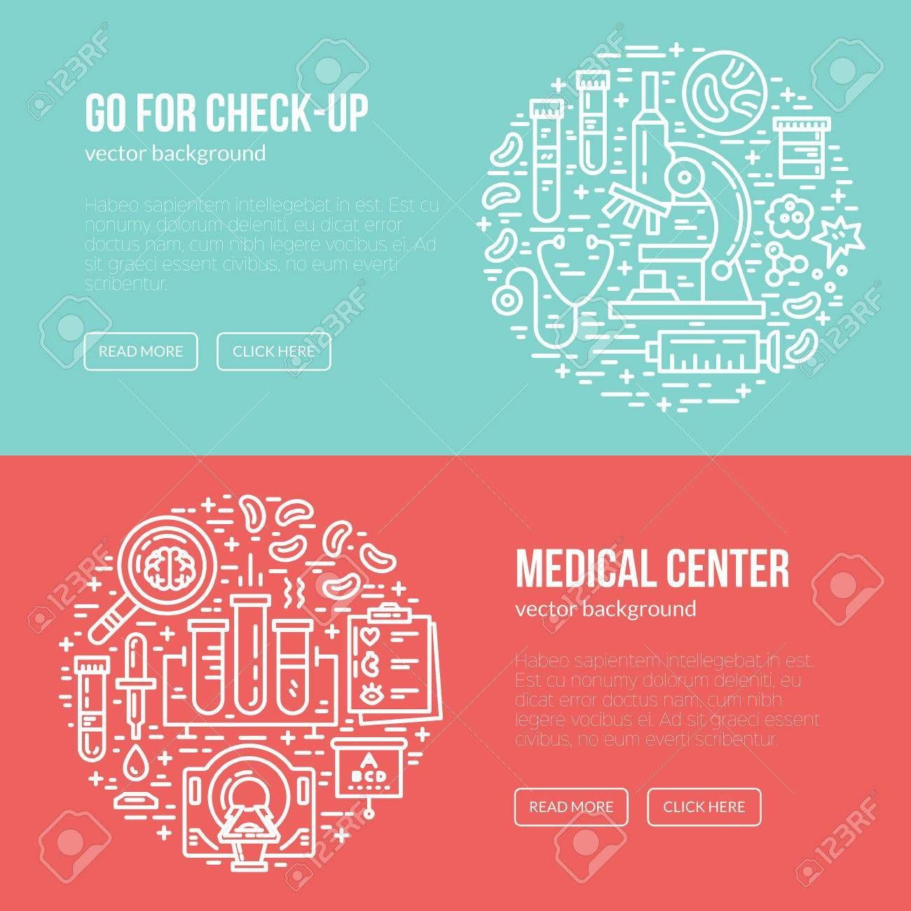 Medical Banner Design Template With Different Research Symbols With Regard To