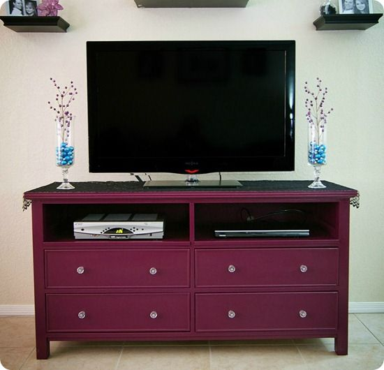 purple tv stand makeover