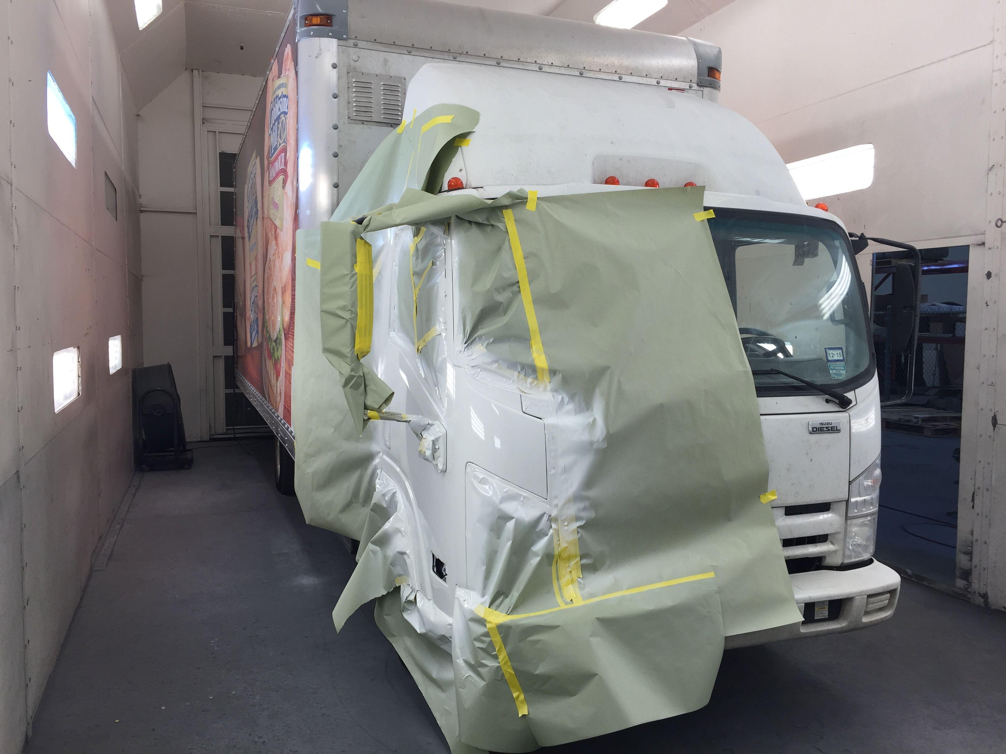 Isuzu Npr Box Truck Cab Repair In Progress Isuzu Npr Box Trucks The Body Shop Shopping Roll Up Doors