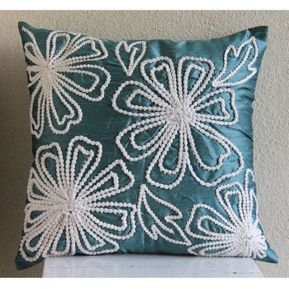 Decorative Throw Pillow Covers 16x16 Teal Silk Lace
