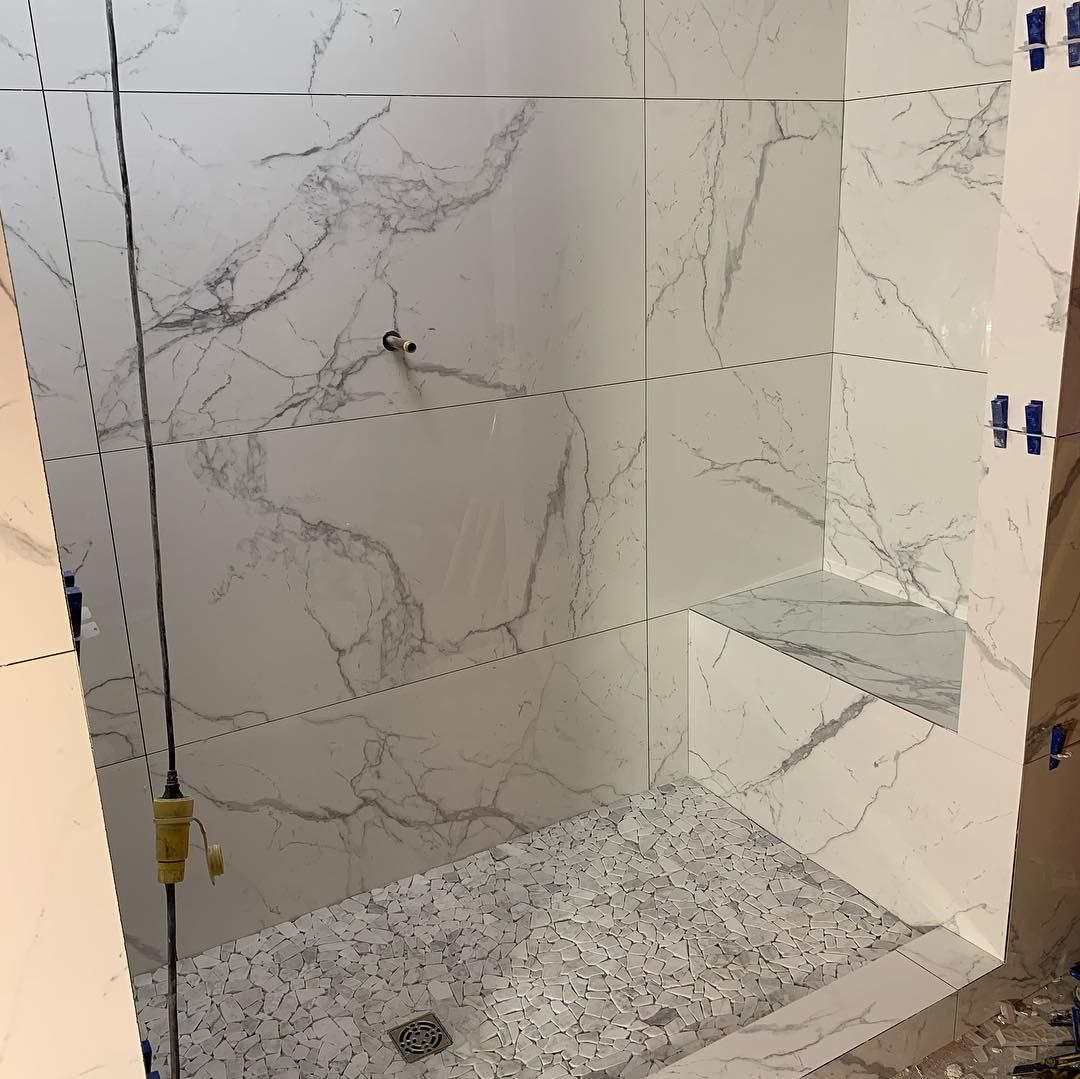 This En Suite Is 100 Complete With 600 Mm X 1200 Mm Large Format Porcelain Marble Tile 700 Sq F On The Walls Tile Installation Bathroom Redesign Marble Tile