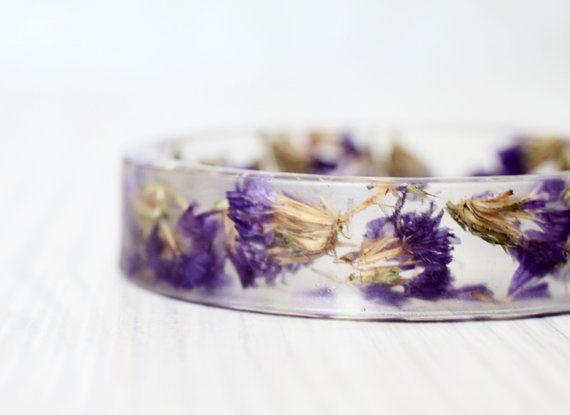 Forget-me-not bracelet - Epoxy resin bracelet - Real flower Bracelet - Free Shipping by VisitingCinderella on ETsy