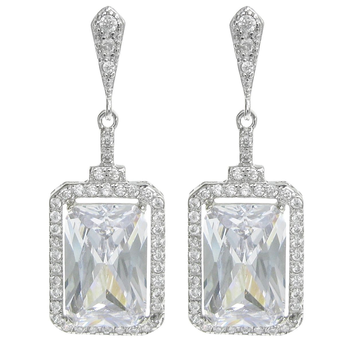 Queenberry Sterling Rectangle Clear CZ Dangle Earrings