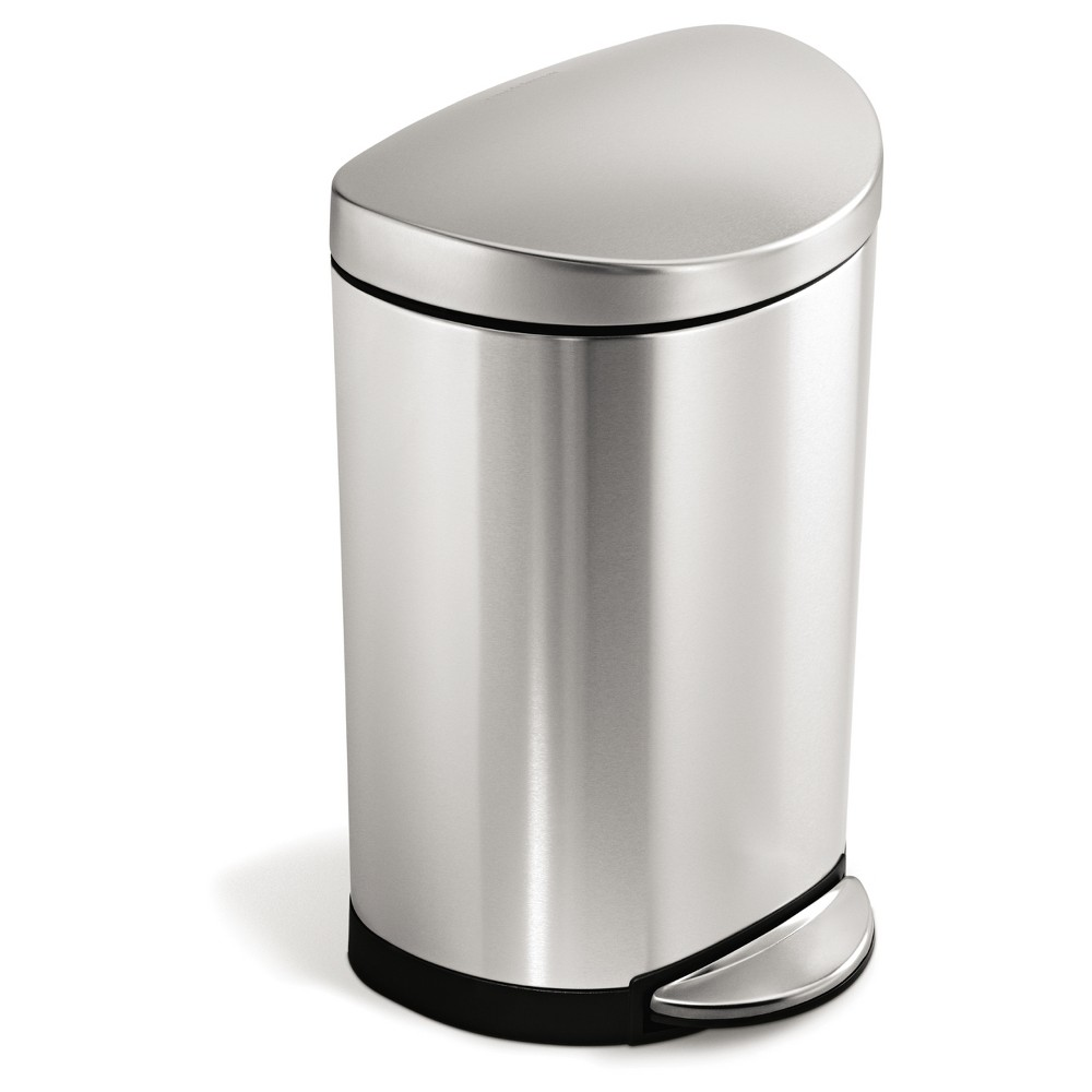 Simplehuman 10 Liter Semi Round Step Trash Can Brushed Stainless Steel With Images