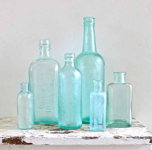 Vintage Aqua Bottles Aqua Bottle Aqua Glass Antique Glass Bottles