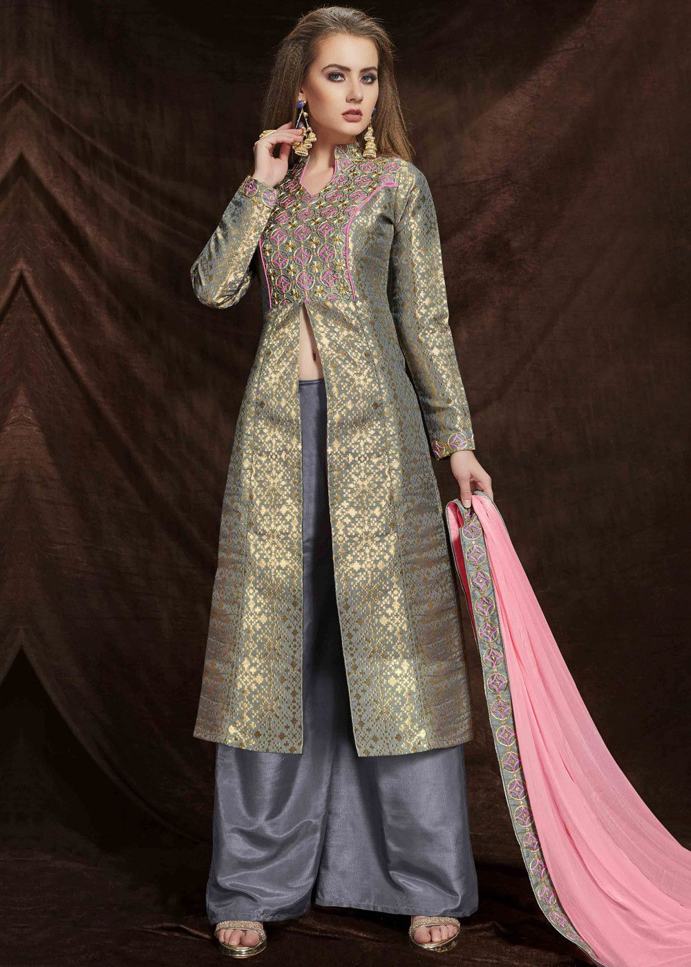 b6efc549d8 #Grey and #gold front slit full sleeved #kameez in #banarasi #silk  #jacquard with all over woven details and #embroidered yoke.