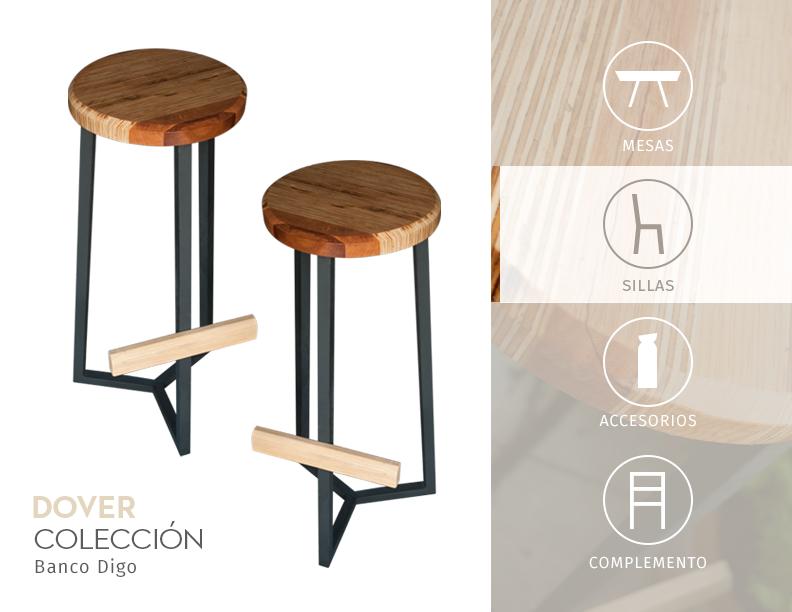 Banco para barra con asiento de madera recompuesta patas