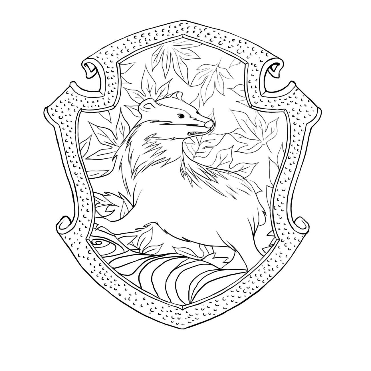 Ravenclaw Crest Coloring Pages Thekindproject Fancy Hufflepuff