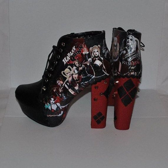 custom made boots harley quinn batman by beccibooscustomshoes clothes clothes and more. Black Bedroom Furniture Sets. Home Design Ideas