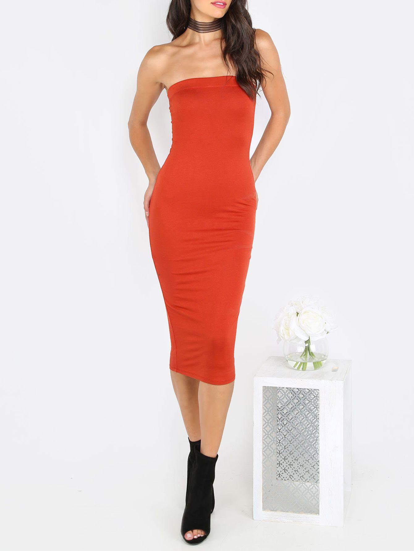 cfb3ff658c Rust Red Tube Sleeveless Sheath Midi Dress -Red Elegant Rayon Strapless  Sleeveless Sheath Midi Plain