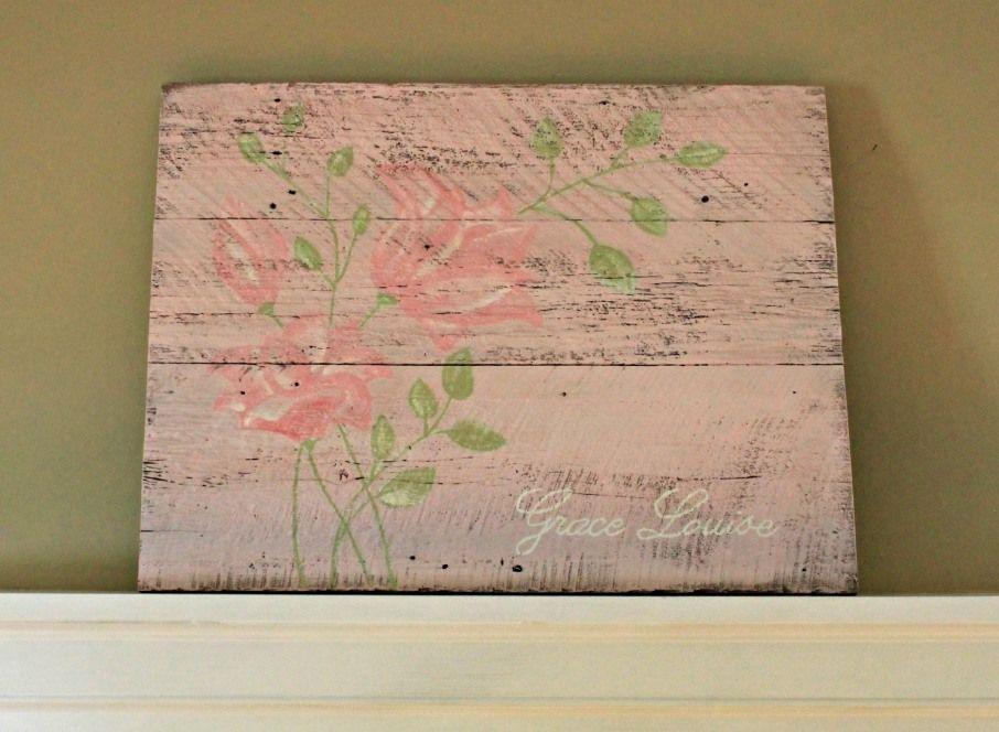 green & pink nursery art on barnwood