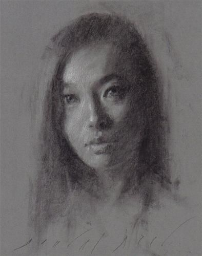 Charcoal drawing asian woman