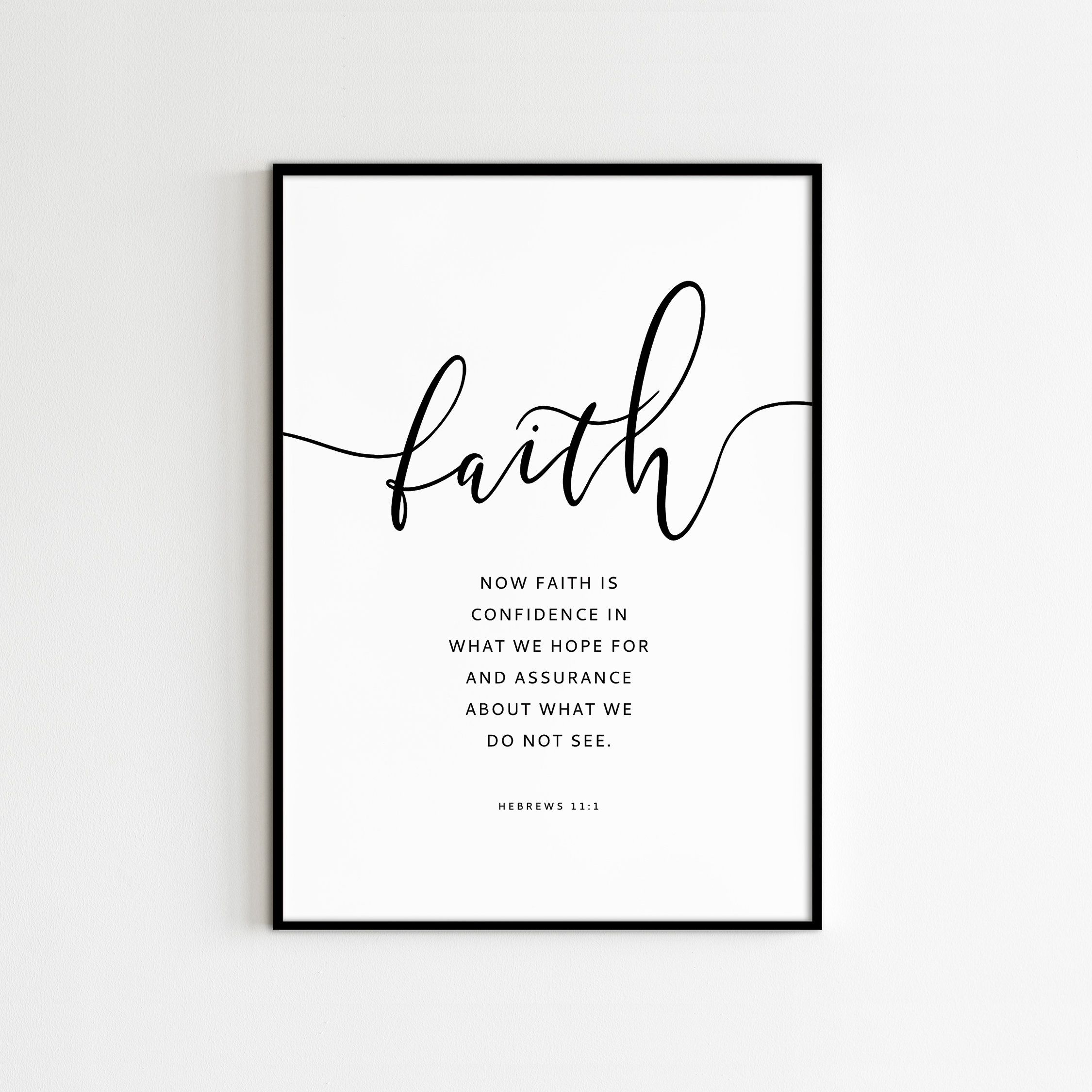HEBREWS 11:1, Faith Is Confidence In What We Hope, Bible Verse Wall Art, Printable Scripture prints, Christian Decor, NIV