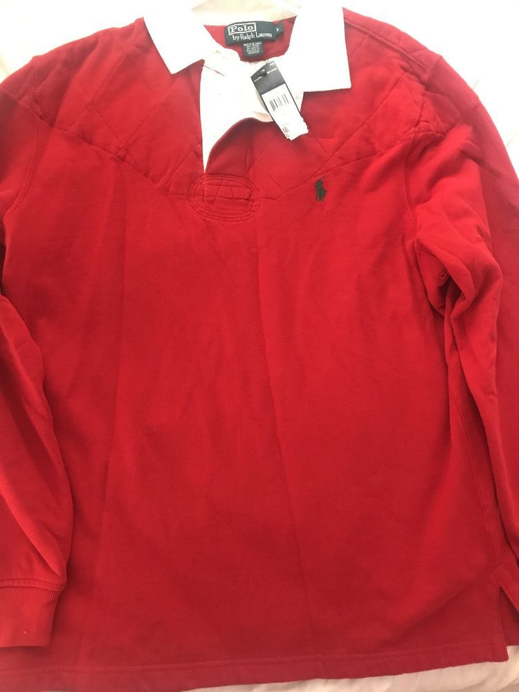 ab6412d085d8a0 New with tags Ralph Lauren Polo Red Rugby shirt with the shoulders   elbows  padded   eBay!