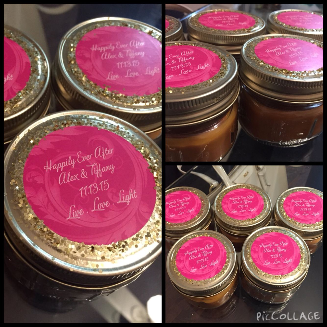 DIY MASON JAR CANDLE WEDDING FAVORS. Candles were purchased from ...