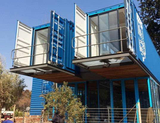 Cantilevered shipping container coffee shop pops up in Johannesburg