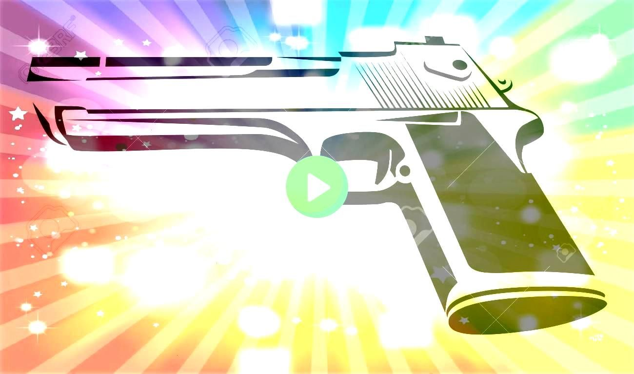 in black and white  Power Pistol isolated on white Style Design of Force Weapon Vector Illustration Illustration Desert Eagle in black and white  Power Pistol isolated on...