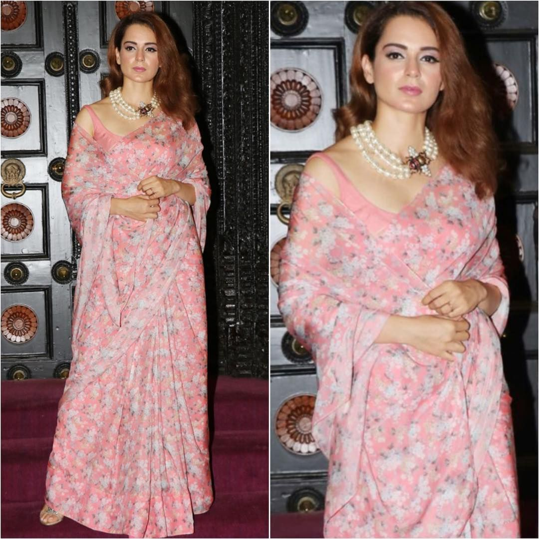 Kangana Ranaut paired a floral print sari with a pearl @gucci necklace  #bollywood #style #fashion #beauty #bollyw… | Saree styles, Saree look,  Fashionable actresses